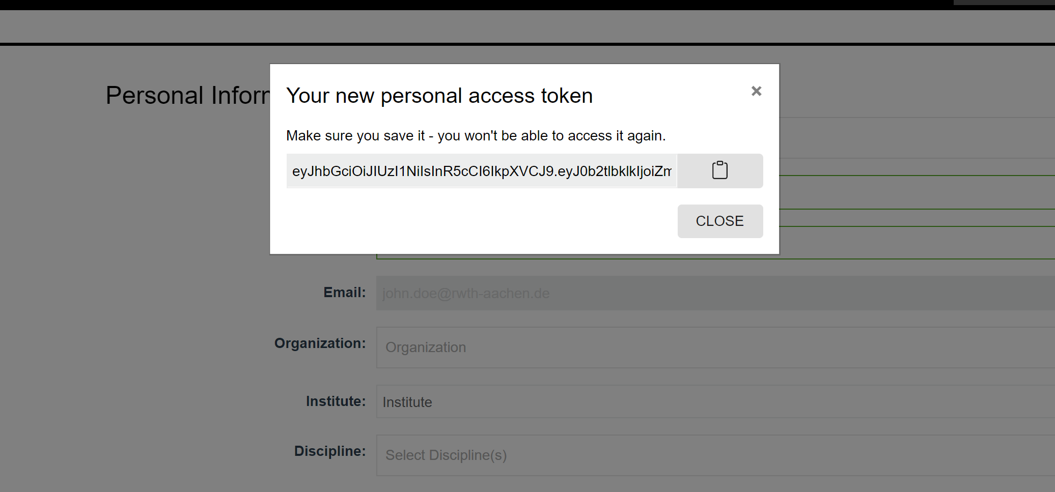 Access Token PopUp