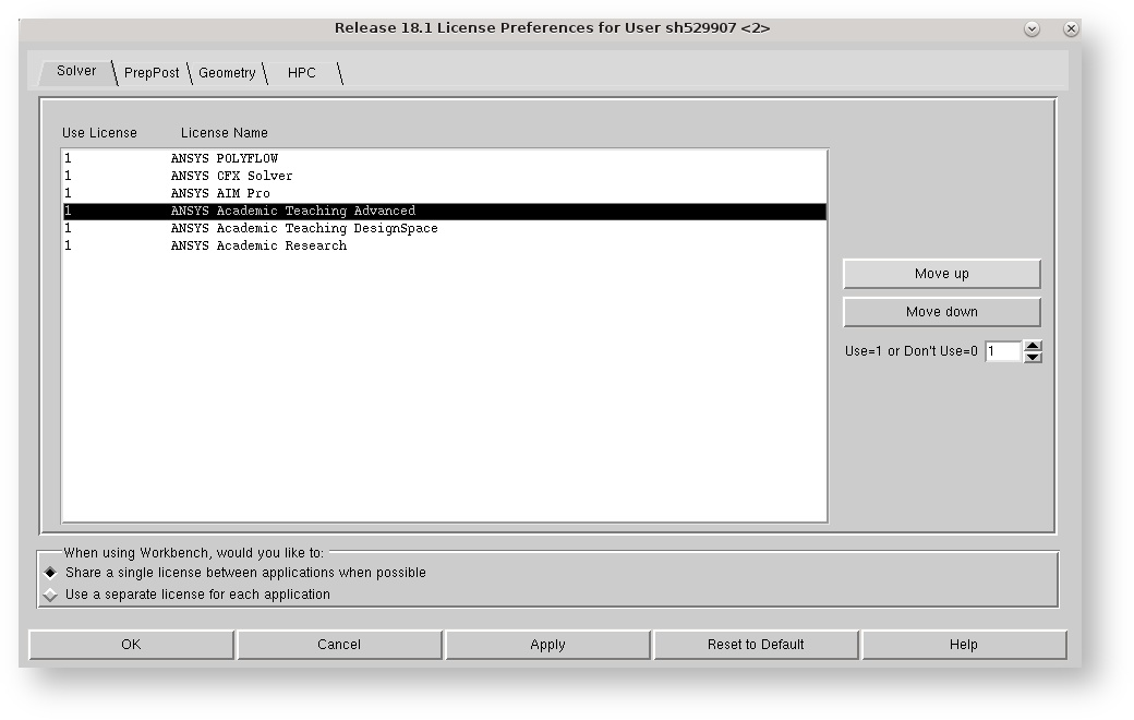Ansys Licence Preferences 2