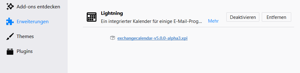 Thunderbird 60.x mit ExchangeCalendar v5.0.0 3