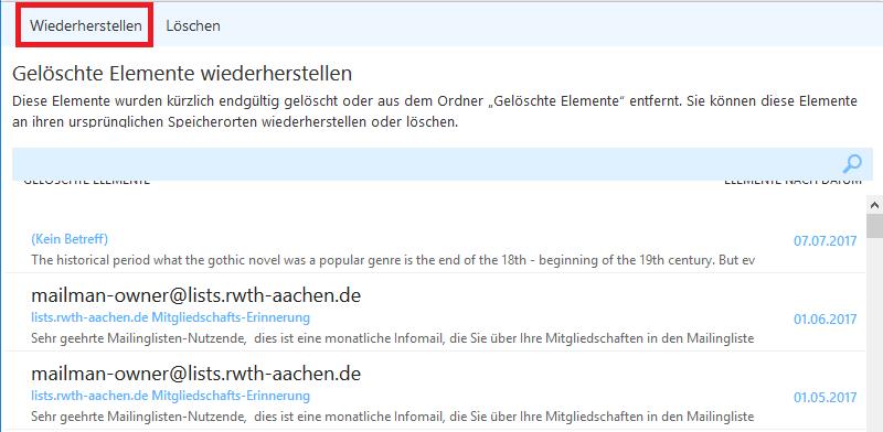 Wiederherstellung gelöschter Mails in Outlook 6