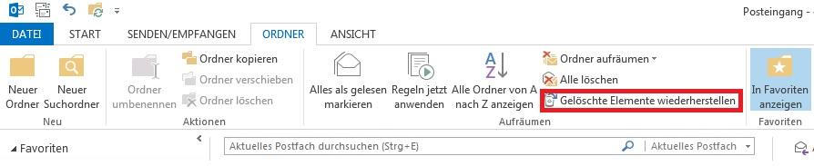 Wiederherstellung gelöschter Mails in Outlook 2