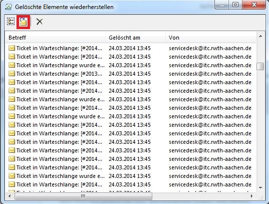 Wiederherstellung gelöschter Mails in Outlook 3