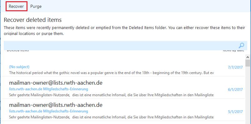 Restoring deleted e-mails 6