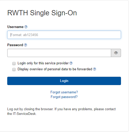 This picture shows the RWTH Single Sign-On Login