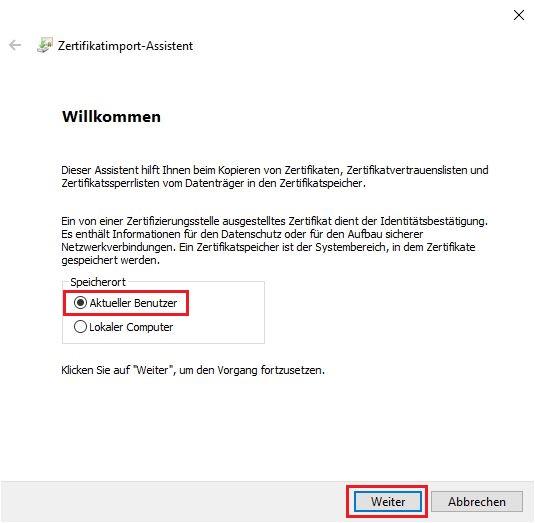 p12-Datei im Windows Zertifikatsspeicher importieren2