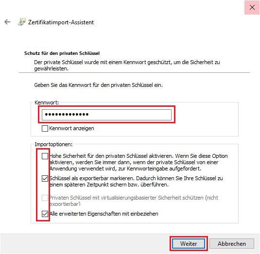 p12-Datei im Windows Zertifikatsspeicher importieren 4