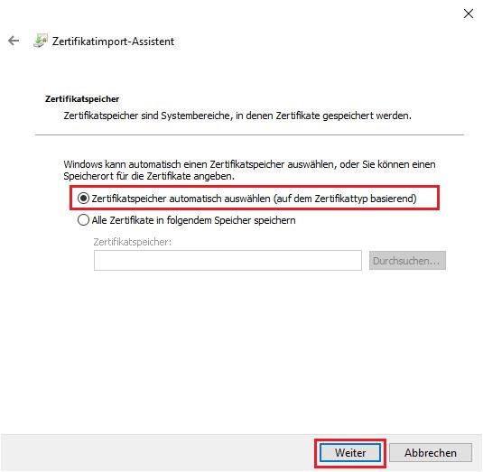 p12-Datei im Windows Zertifikatsspeicher importieren 5