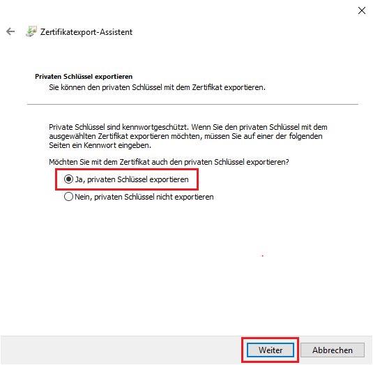 Eigene RSA-Schlüssel und das Zertifikat exportieren 2