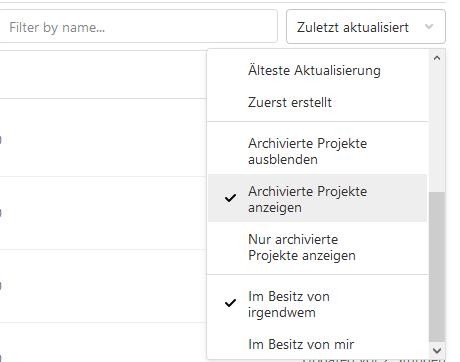 Anzeigen archivierter Projekte