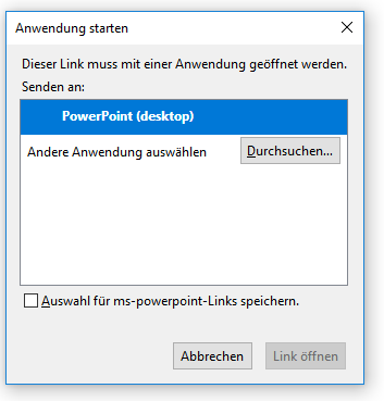 Startup of local PowerPoint application