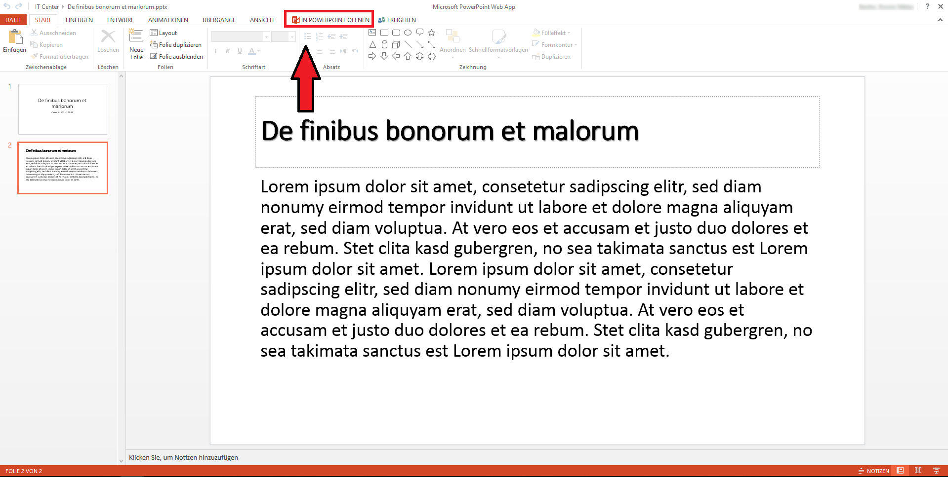PowerPoint Web App editing-view