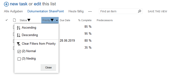 task list filtered according to priority