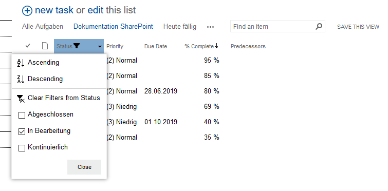 task list filtered according to status