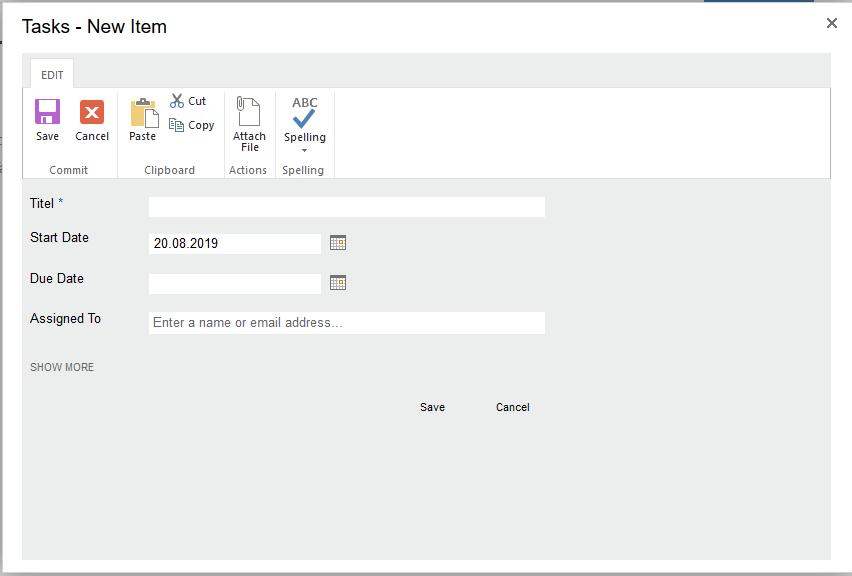 Adding a new Item to the tasklist