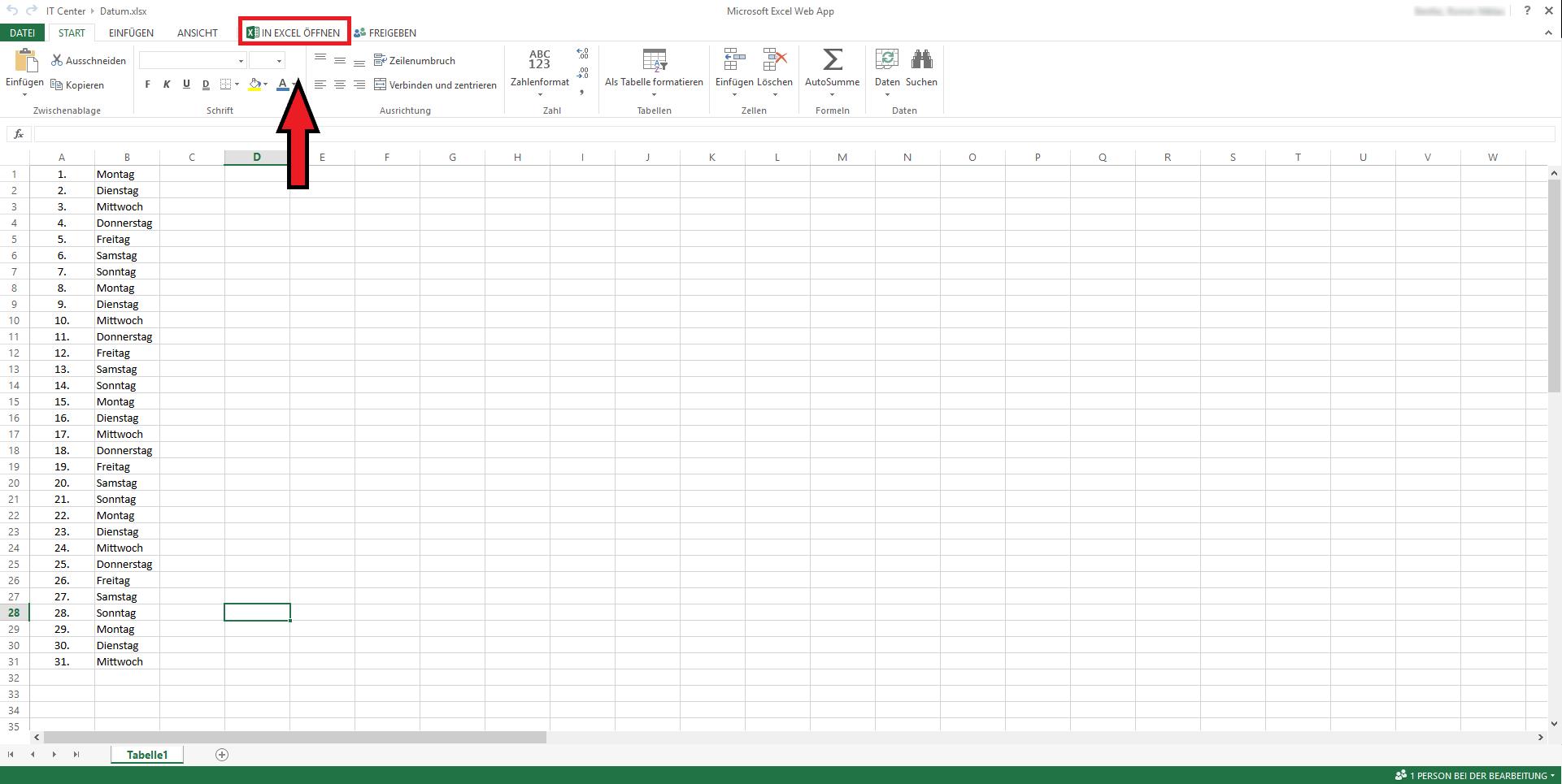 Excel Dokument in lokaler Anwendung öffnen