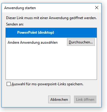 PowerPoint - lokale Anwendung starten
