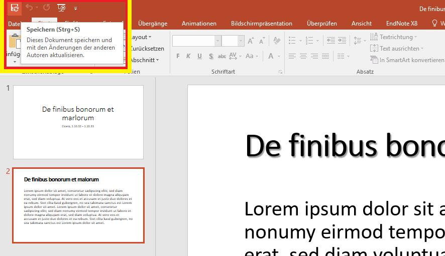 PowerPoint Datei synchronisieren