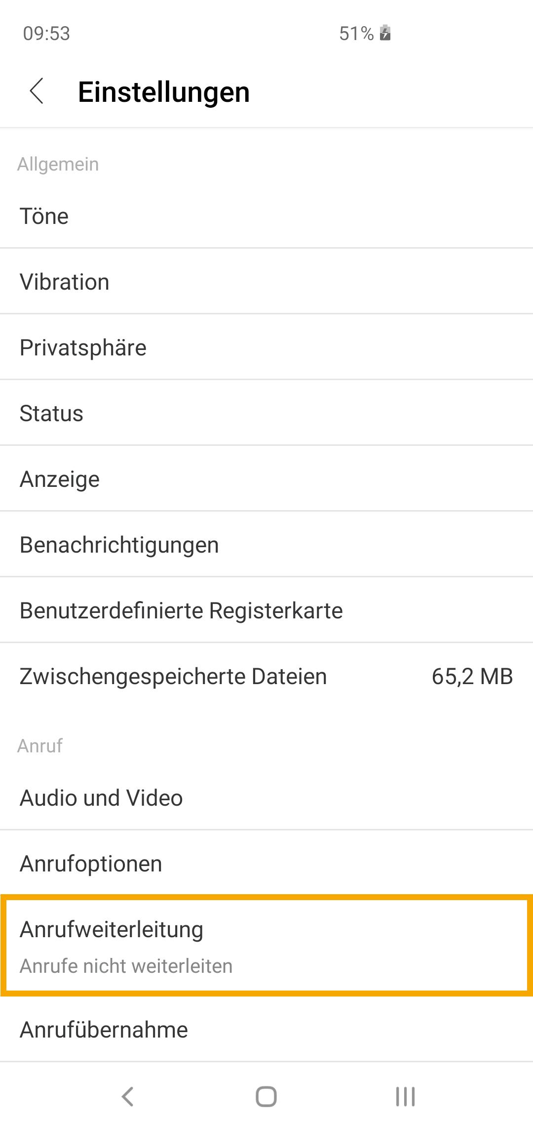 Weiterleitungen Android 3