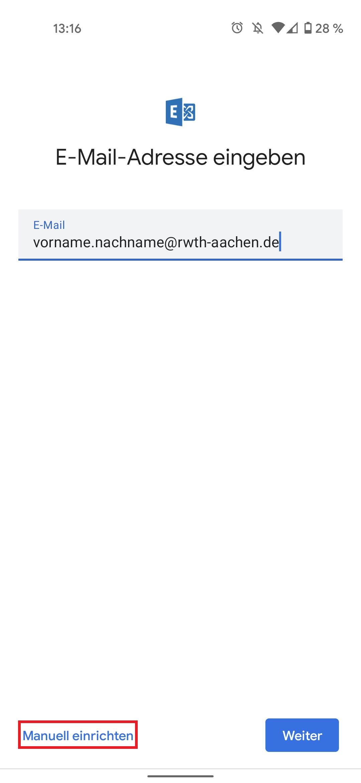E-Mail-Adresse eingeben dann Manuell