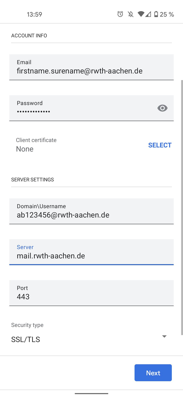 E-Mail configuration