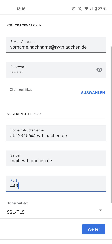 E-Mail Konfiguration