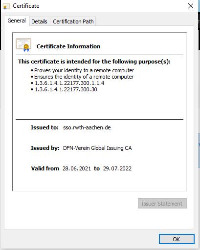 Certificate information