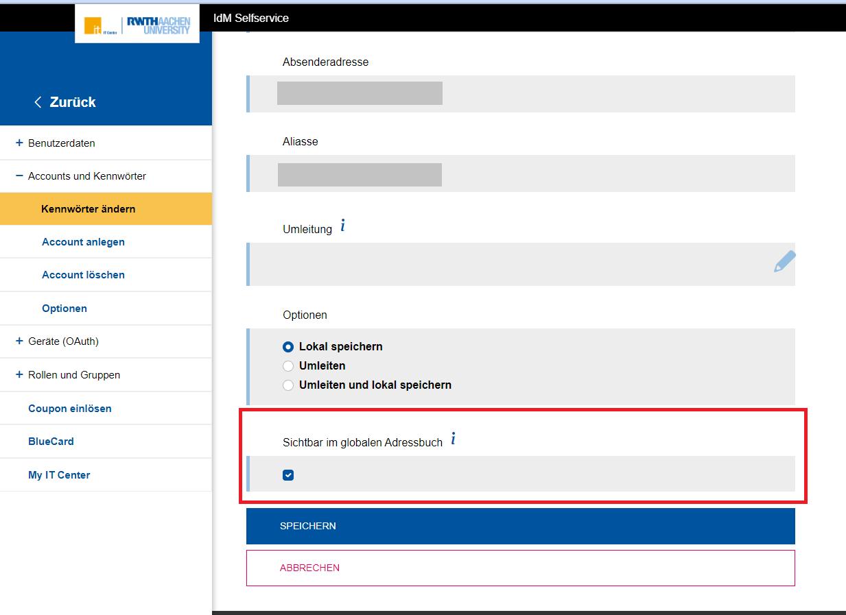 Sichtbarkeit im Adressbuch konfigurieren