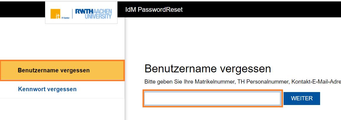 PasswordReset - Benutzername vergessen