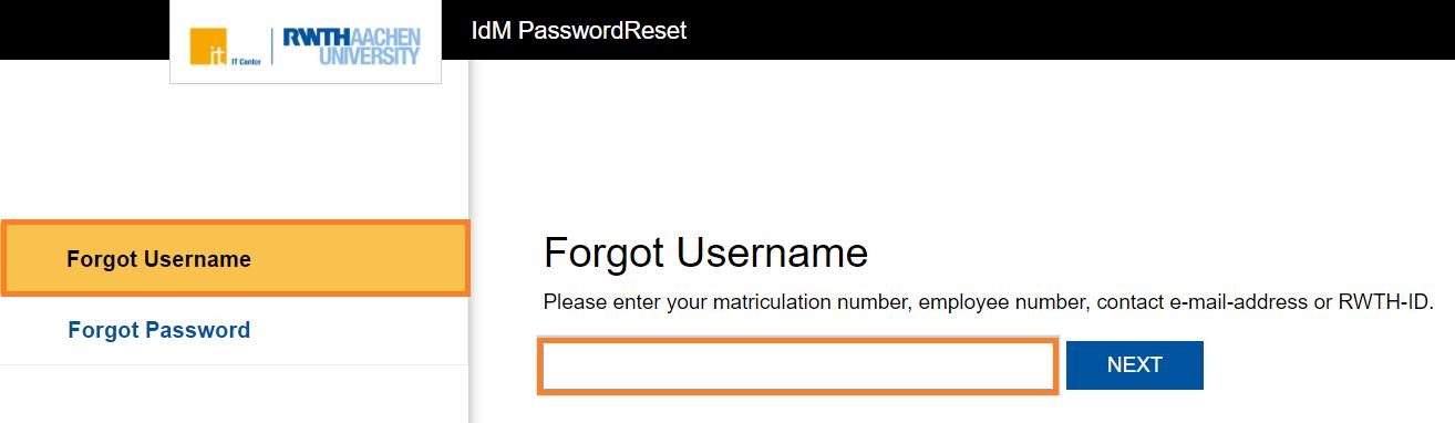 PasswordReset Forgot username