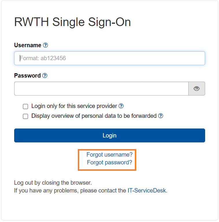 RWTH Single Sign-On