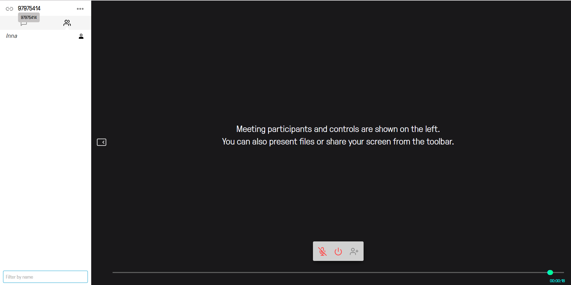 The picture shows a virtual meeting window