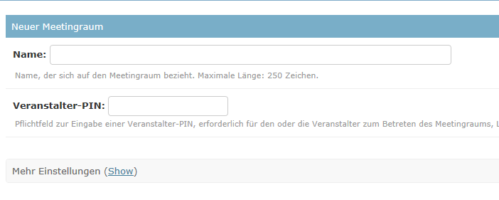 The picture shows the option for entering a name and a PIN for the meeting