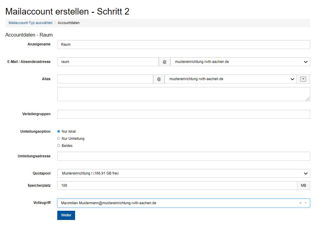 """Das Bild zeigt Schritt 2 im Prozess """"Mailaccount erstellen"""""""