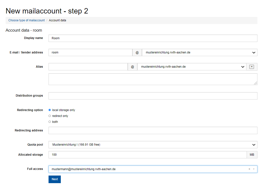 """The picture shows step 2 in the process """"New mail account"""""""