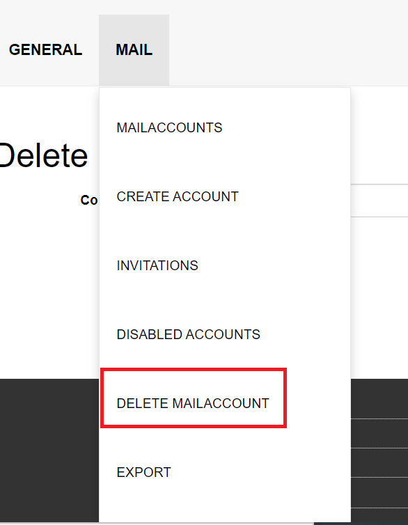 """The picture shows the MailAdm option """"Delete mail account"""""""