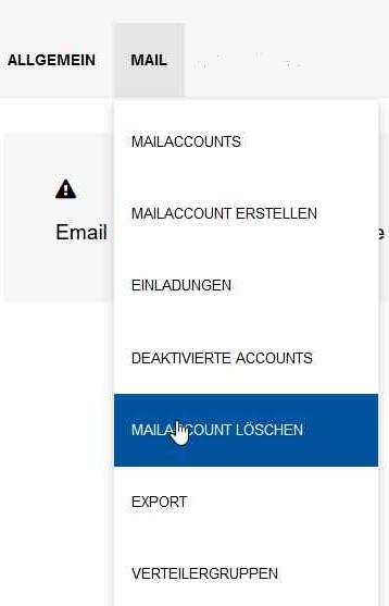 """Das Bild zeigt die Option """"Mailaccount löschen"""" in MailAdm"""