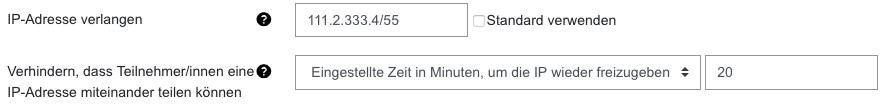 Screenshot Einstellungen zu IP-Adressen