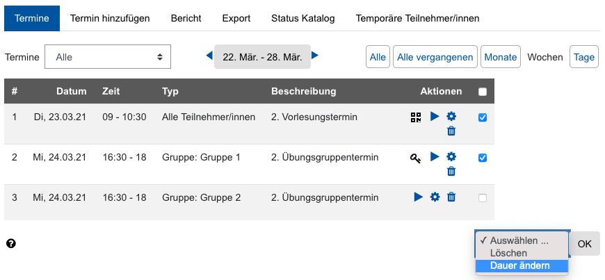Screenshot Terminübersicht mit Bearbeitungsoptionen