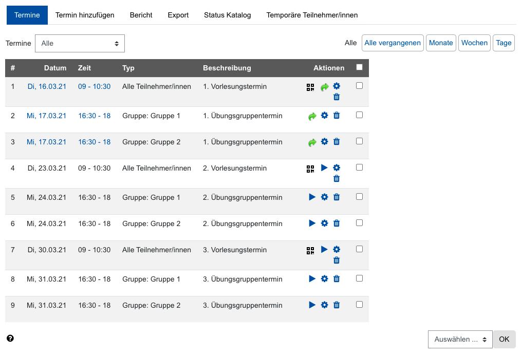 Screenshot Terminübersicht mit Optionen zur Anwesenheitserfassung