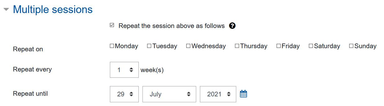 Screenshot settings for multiple sessions