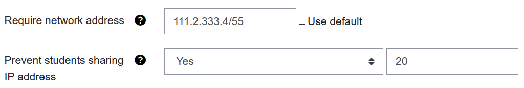 Screenshot settings for IP address