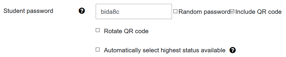 Screenshot settings for password and QR code
