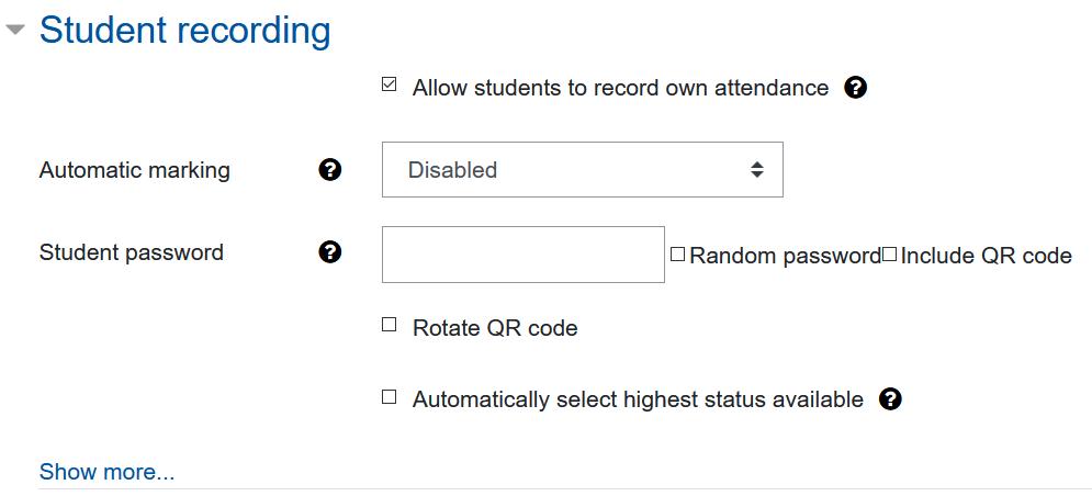 Screenshot settings for student recording