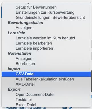 Screenshot Auswahldialog in Bewertungen für CSV-Import