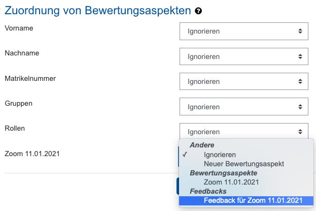 Screenshot Bewertungsaspekt zuordnen