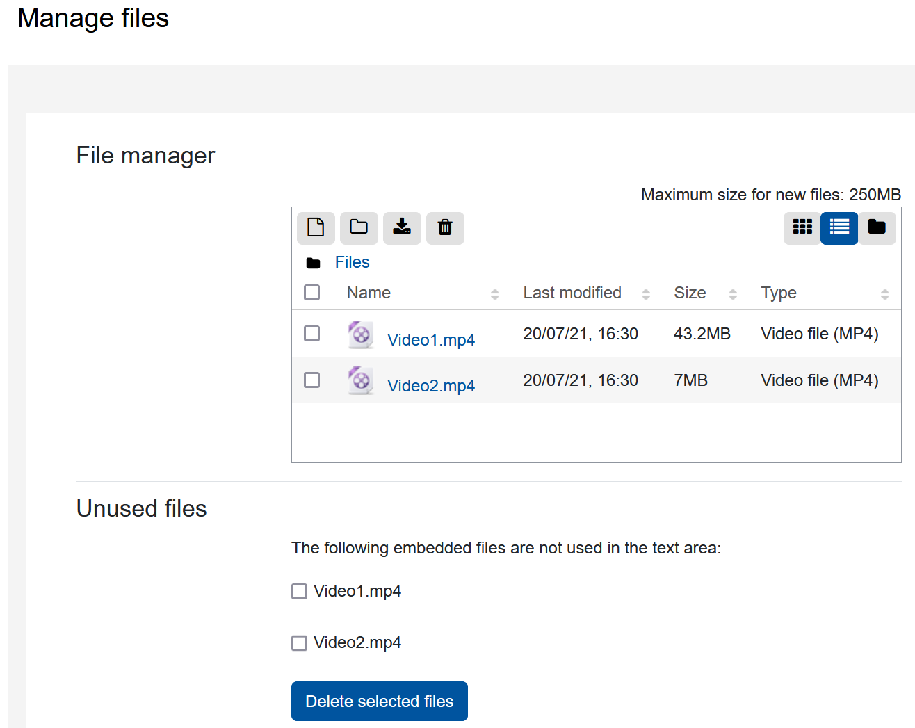 """Screenshot """"Manage files"""" with display of files uploaded to the repository"""