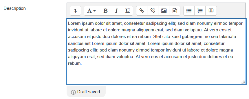 """Screenshot Atto editor with note  """"Draft saved"""""""