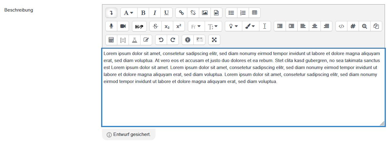 "Screenshot Text-Editor mit Meldung ""Entwurf gesichert"""