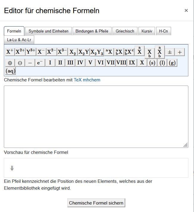 """Screenshot """"Editor für chemische Formeln"""""""