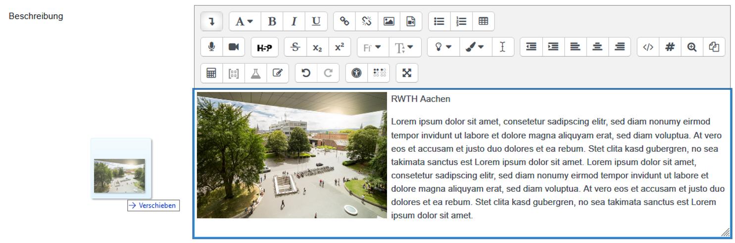 Screenshot Text-Editor mit Drag&Drop-Einfügen eines Bildes